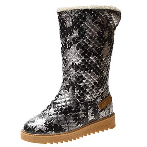 Zapatos de nieve de moda para las mujeres botas casuales botines planos Slip-On Color sólido Mid Boot mantener caliente básico punta redonda zapato HHHG, 01 gris, 37 EU