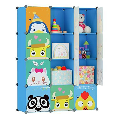 KOUSI Portable Kids Bookshelf Children Toy Organizer Multifuncation Cube Storage Shelf Cabinet Bookcase, Capacious & Study, Blue:12 Cubes