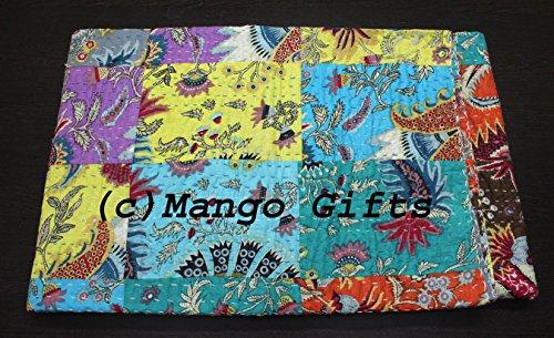 Mango Geschenke Kantha Steppdecke, indische Baumwolle Tagesdecke hergestellt von Handwerker von Indien 218,4x 269,2cm Zoll ca.