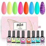 Esmalte de uñas en gel AB GEL - Serie Neon 8 colores, esmalte en gel arcoíris en colores pastel - Juego de esmalte de uñas en gel para el hogar con diseño de arte de uñas