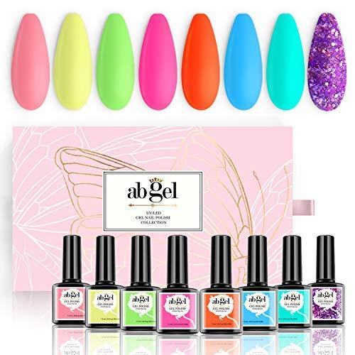 AB GEL Gel Nagellack - Neon Serie 8 Farben, Pastell Regenbogen Gel Lack - Beliebte Nail Art Design Home Gel Nagellack Set
