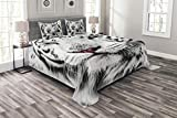 Ambesonne Safari Bedspread, White Tiger Wintertime Rare Animal Portrait Eyes Calm Noble Beast Photography, Decorative Quilted 3 Piece Coverlet Set with 2 Pillow Shams, King Size, White Black