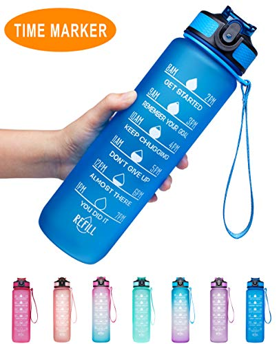 Venture Pal 32oz Motivational Fitness Sports Water Bottle with Time Marker & Straw, Large Wide Mouth Leakproof Durable BPA Free Non-Toxic-Mint Green