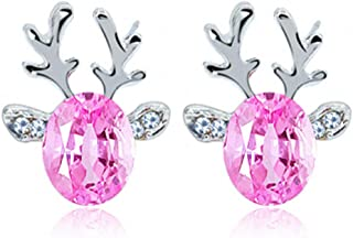 Christmas Earrings Holiday Jewelry for Womens Girls - Christmas Earrings Crystal Studs Xmas Reindeer Luxury Earing Clear Cubic Stud Hypoallergenic Cute Earrings