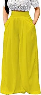 iYYVV Womens High Waist Wide Leg Fashion Solid Color Pocket Loose Pants Long Trousers