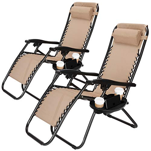 Superworth Set Of 2 Folding Zero Gravity Chairs Beach Chairs Sun Lounger Recliner For Beach Patio Garden Camping Outdoor Tan