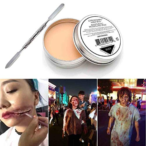 COKOHAPPY Halloween Party Stage Special Effects Nude Color Putty/Wax Wound Modeling Scar Fake Face Body Paint(1.76oz) Fancy Cosplay Makeup with Spatula Tool