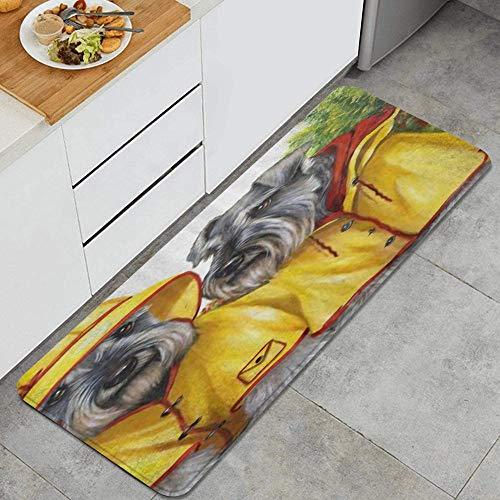 JOSENI Anti Fatiga Cocina Alfombra del Piso,Arte de Perro Schnauzer Disfrazado de Pareja,Antideslizante Acolchado Puerta Habitacin Baera Alfombra Almohadilla,120 x 45cm