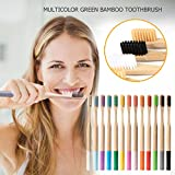 13PCS Rainbow Multi-Colors Bamboo Toothbrush Set - Eco-Friendly Biodegradable Soft Teeth Brush - Adult Medium Soft Fibre Bristles Natural Organic Wood Colorful for Family Home Travel Oral Care (1 Set)