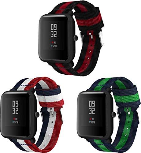 Correas para Relojes Nylon Compatible con Amazfit Bip/Bip Lite/Bip S/Bip U, Correa de Reloj de NATO para Mujer y Hombre con Hebilla de Acero Inoxidable (20mm, 3-Pack I)