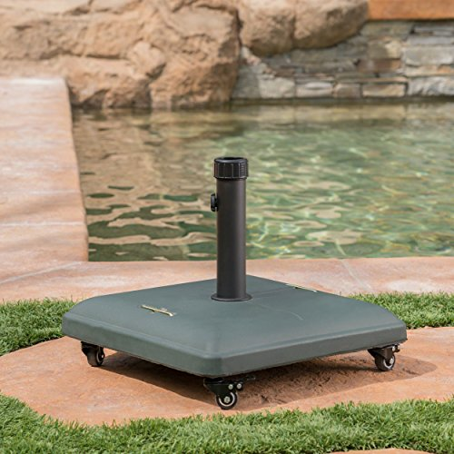 Christopher Knight Home  Louise Outdoor Green Concrete Square 80lb Base with Steel Umbrella Holder, 19.60 x 19.60 x 16.30