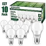 E27 LED Lampe, 9W 800 Lumen LED Lampe Ersatz für 60W Halogen, 6000K Kaltesweiß, A60 Leuchtmittel,...