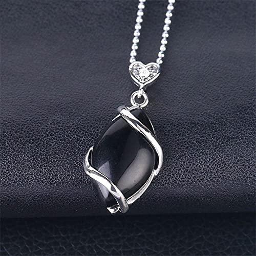 YQMR Collares con Colgantes De Piedra para Mujer,7 Chakra Señoras Cristal Semiprecioso Natural Ahueca hacia Fuera El Modelado De Diamantes Collar De Moda De Ágata Negra Día De