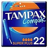 Tampax Compak Super Plus Tampons Avec Applicateur x22, Protection Anti-Fuites Et Discrétion, Sensation De Fraîcheur