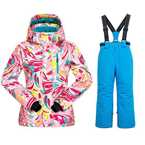 Chaqueta de esquí con aislamiento para niñas + pantalones a prueba de viento impermeable, estilo10, 10