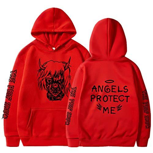 Street Hip-Hop Hoodie Rap Sweater Printing Fashion Suéter Holgado con Capucha para Hombres y Mujeres Rojo