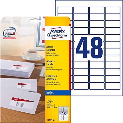 AVERY Zweckform J4791-25 Adressetiketten/Adressaufkleber (1.200 Etiketten, 45,7x21,2mm auf A4, bedruckbar, selbstklebend, für Absenderetiketten, Papier matt, Inkjet-Drucker) 25 Blatt, weiß