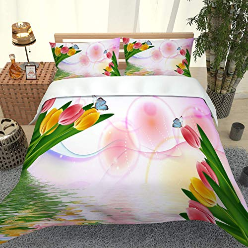 BHFCBD Duvet Cover Set. Easy Care And Super Soft Microfiber Hypoallergenic Design Color Tulip Butterfly Pattern Quilt. Double Size 200X200Cm + 2 Matching Pillowcase.3Pcs Printed Bedding Set