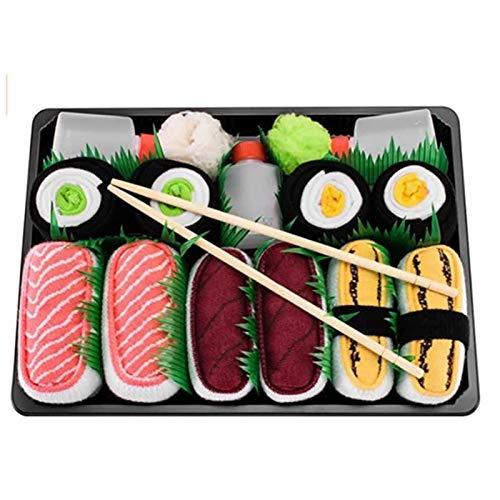 Delisouls Caja de calcetines de sushi para mujer, 3/4/5 unidades, diseño de Sushi, calcetines de estilo japonés, regalo novedoso para amigos