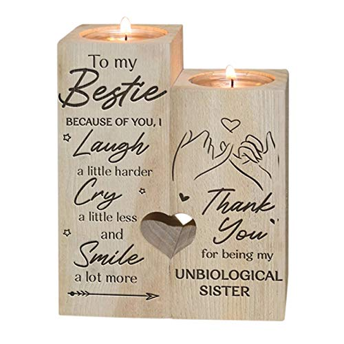 Starall Cute Candle Holder, To My Bestie - Smile A Lot More - Wooden Candle Holder with Candle Gift for Bestie Best Friend