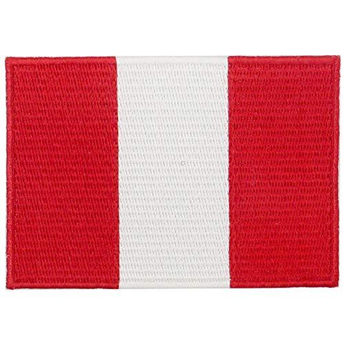 EmbTao Aufnäher mit peruanischer Flagge, bestickt, zum Aufbügeln oder Aufnähen