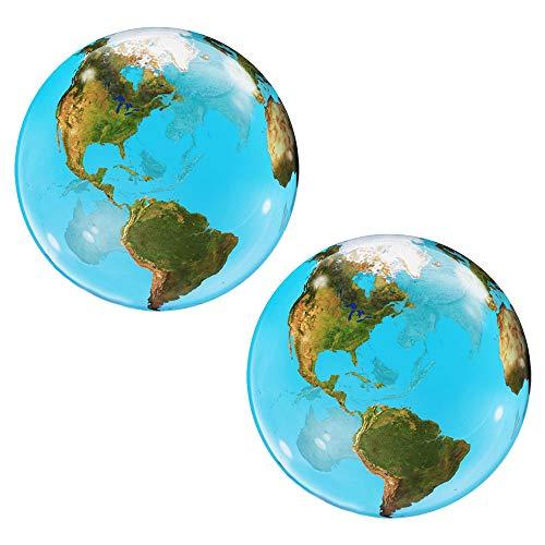 Set of 2 Planet Earth Globe Jumbo 22' Bubble Party Balloons