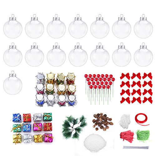 Worown 15 Pack 80mm Clear Ornaments Balls Plastic Fillable Christmas Ornaments for Christmas and Wedding Party Decorations