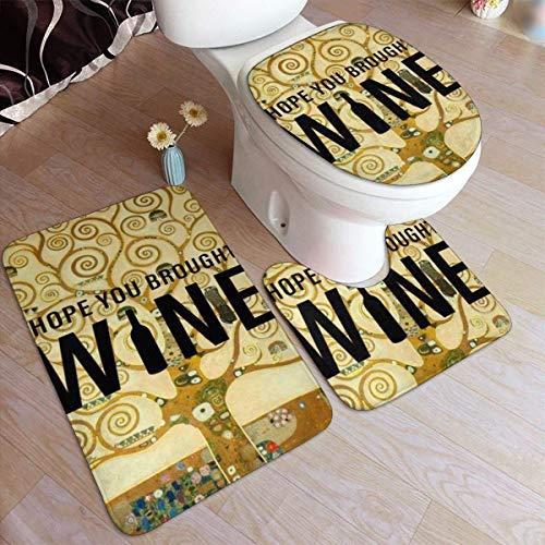 ingshihuainingxianruangangs Gustav Klimt Paintings Bad Antiskid Pad Set 3-teiliges, weiches, rutschfestes Pad Badematte + Konturmatte Sockelteppich + Toilettendeckelabdeckung