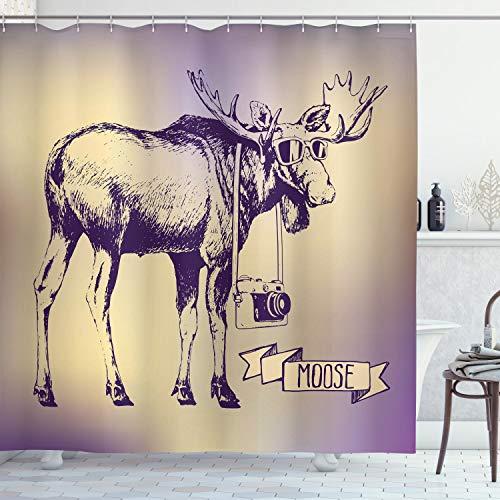 ABAKUHAUS Elch Duschvorhang, Hipster Deer mit Kamera, aus Stoff inkl.12 Haken Digitaldruck Farbfest Langhaltig Bakterie Resistent, 175 x 200 cm, Lila Beige
