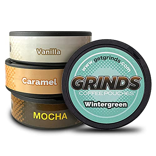 Grinds Coffee Pouches | Top 4 Flavors | Wintergreen, Caramel, Mocha, & Vanilla | Tobacco Free, Nicotine Free Healthy Alternative | 1 Pouch eq. 1/4 Cup of Coffee (Top 4 Flavors)