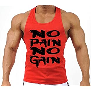 Customer reviews Mens MMA GYM BODYBUILDING MOTIVATION VEST BEST WORKOUT CLOTHING TRAINING TOP (Red, Large)