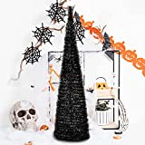 5' Slim Black Tinsel Pop-Up Artificial Halloween Christmas Tree,Collapsible Pencil Halloween Christmas Trees Features Sequins Accents for Apartments,Fireplace,or Party