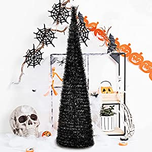 5′ slim black tinsel pop-up artificial halloween christmas tree,collapsible pencil halloween christmas trees features sequins accents for apartments,fireplace,or party silk flower arrangements