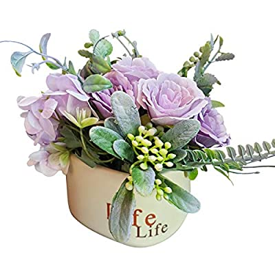 EverWin Artificial Flowers Bouquet with Ceramic...