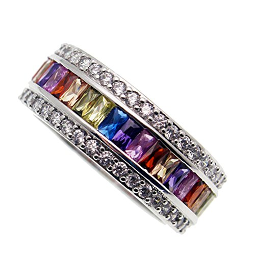 JINTOP Anillo ¨²nico, Morganite Topaz Granate Amatista Ruby Multi Piedras Preciosas S925 Girls Gifts Anillo de Boda Tama?o 6# -12#