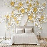 HJLXDP Arte de pared 3D autoadhesivo de tela no tejida arte blanco flor árbol pegatinas murales de pared autoadhesivas pegatinas de pared para sala de estar dormitorio pasillo