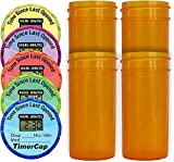 Image of TimerCap Automatically Displays Time Since Last Opened - Built-in Stopwatch Smart Pill Bottle Cap Medication Reminder Case (Qty 4-1.8 oz Amber Bottles) EZ -Twist/CRC