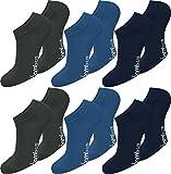 normani 6 Paar Damen Bambus Sneaker-Socken, schwarz, Spitze handgekettelt, Ohne Gummib&, superweich & angenehm Farbe Anthrazit/Blau/Marine Größe 35/38