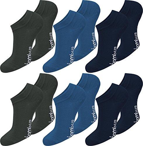 normani 6 Paar Damen Bambus Sneaker-Socken, schwarz, Spitze handgekettelt, Ohne Gummibund, superweich und angenehm Farbe Anthrazit/Blau/Marine Größe 39/42