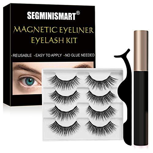 Magnetische Wimpern,Magnetischer Eyeliner,3D Künstliche Wimpern und Wasserfester Eyeliner,Magnetic Eyelashes mit Zange Wasserdicht und Wiederverwendbar (Schwarz)