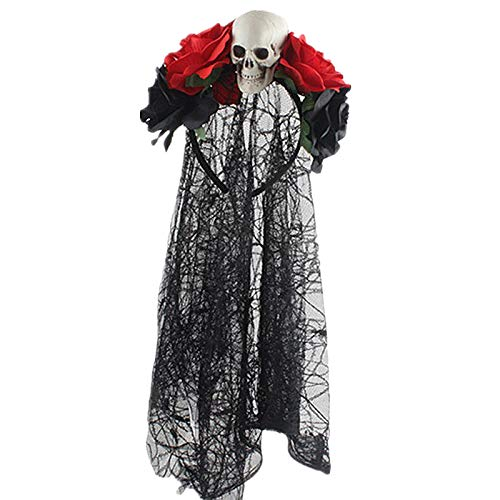 ACAMPTAR Tag der Toten Stirnband Braut Schleier KostüM Halloween Zubeh?R Rose Blumen Krone (C Schwarz + Rot + Sch?Del)