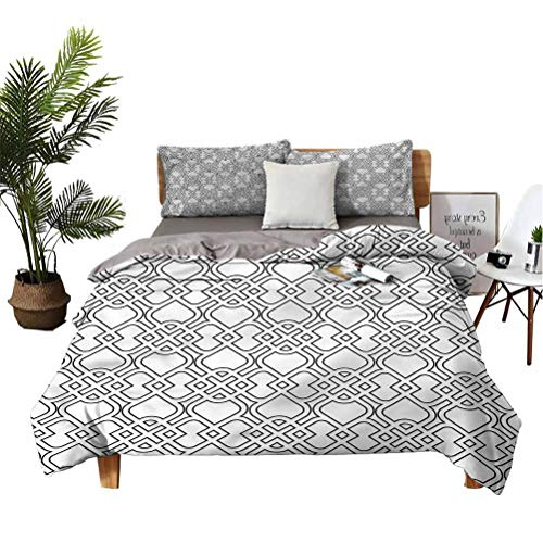 Grey 3 Piece Bed Sheet Set Trippy Artistic Tile Pattern Simple Style Full
