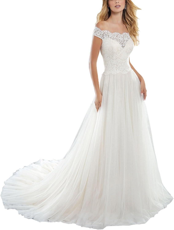 Tutu.vivi Women's Lace Off Shoulder Long Wedding Dresses Cap Sleeves Tulle Wedding Gown