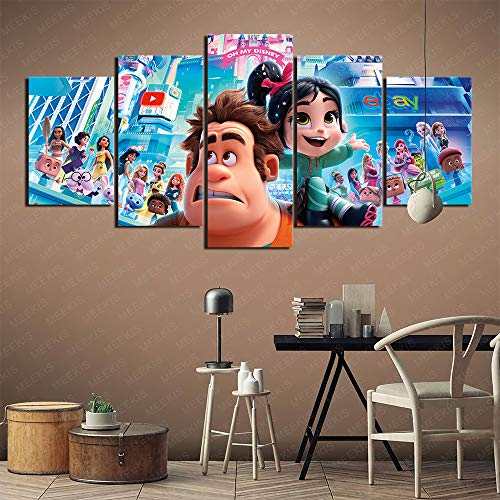 YLAXX Ralph Breaks The Internet Wall Art Picture Print Art Collection Decorative Gifts Bedroom 3D Printing Painting 100X50Cm frameless