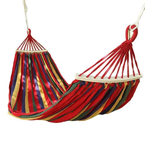 Kuncg Hängematte, Belastbarkeit bis 200 kg, für Outdoor Camping Wandern Garten, Rote-Blaue Streifen
