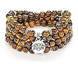 108 Bead Mala Bracelet with Lotus Charm and 6mm...