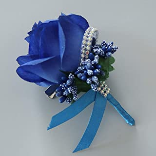 cici store 1Pc Wedding Artificial Brooch Bouquet,Glitter Rhinestone Bride Groom Prom Boutonniere with Pin,Royal Blue