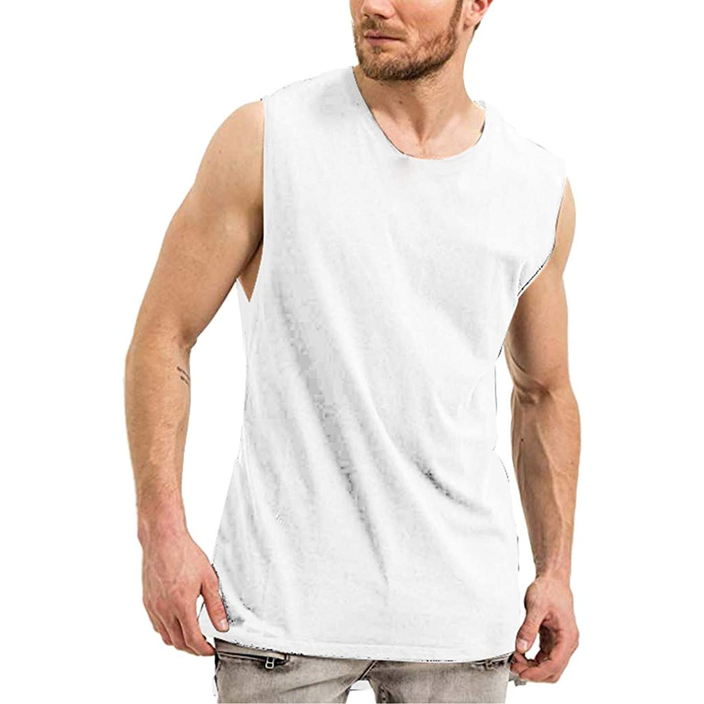 Corriee Mens Tank Tops Workout Cotton Solid Color Vest Men's Sleeveless Workout T- Shirts wwlncbgevus5