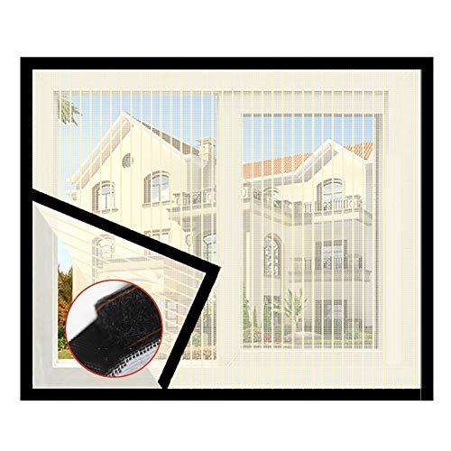 DM&FC Anti Bug Fly Fliegengitter Fenster Net Mesh Curtain,Haushalt Selbst-klebstoff Fliegengitter Fenster,Voller Rahmen Klettband Demontage Beige 150x180cm/59x71inch