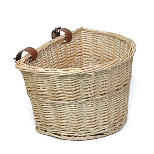 Best Price! MEIEM Front Handlebar Wicker Bike Basket Cargo Leather Straps (Natural)